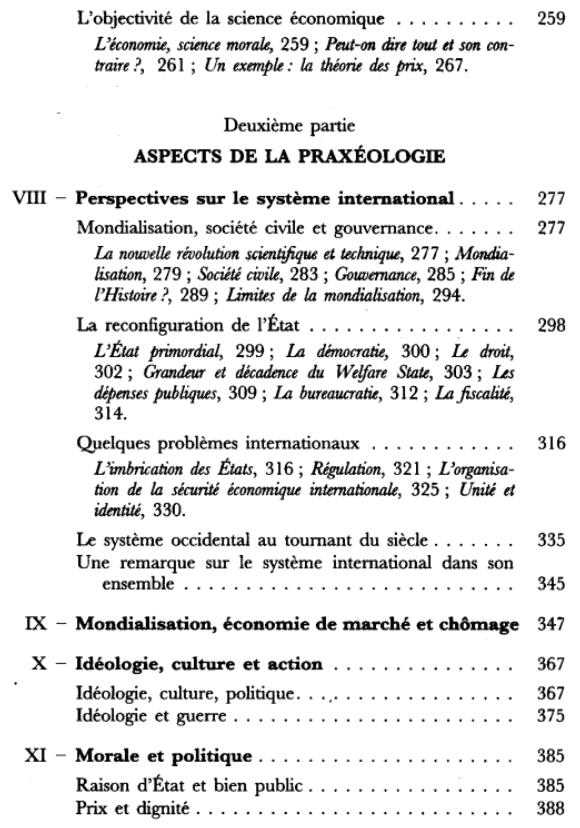 L'action et le système du monde - Sommaire page 3