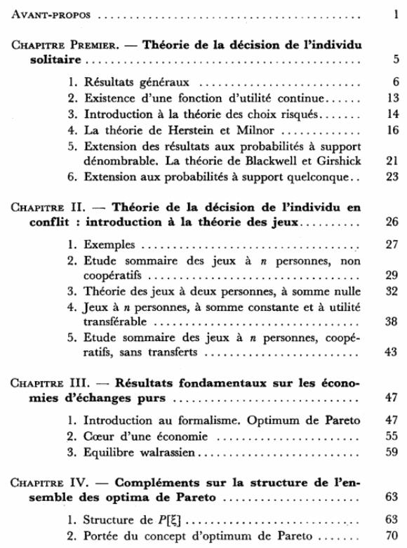Economie théorique - Sommaire page 1