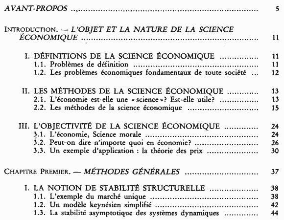 La science économique - Sommaire page 1