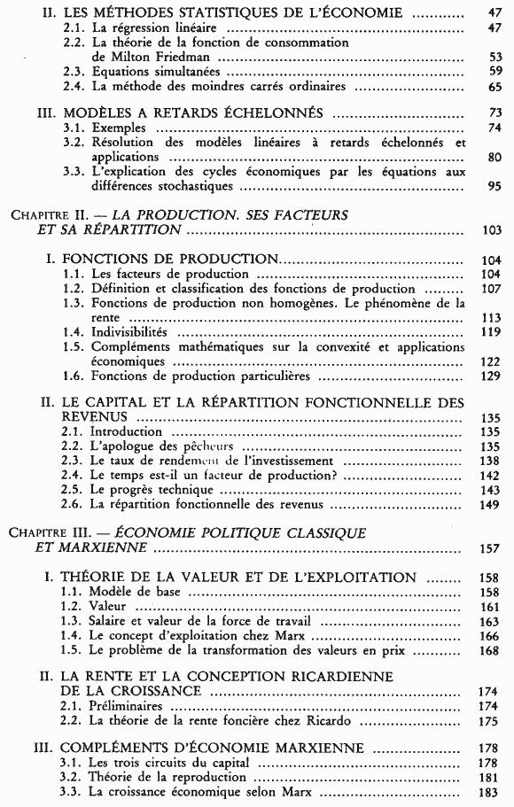 La science économique - Sommaire page 2