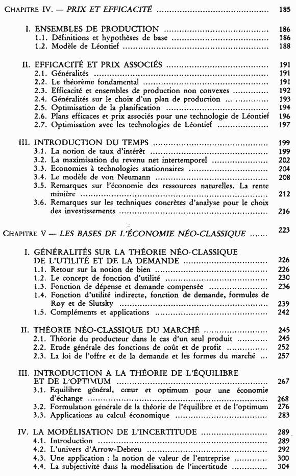 La science économique - Sommaire page 3