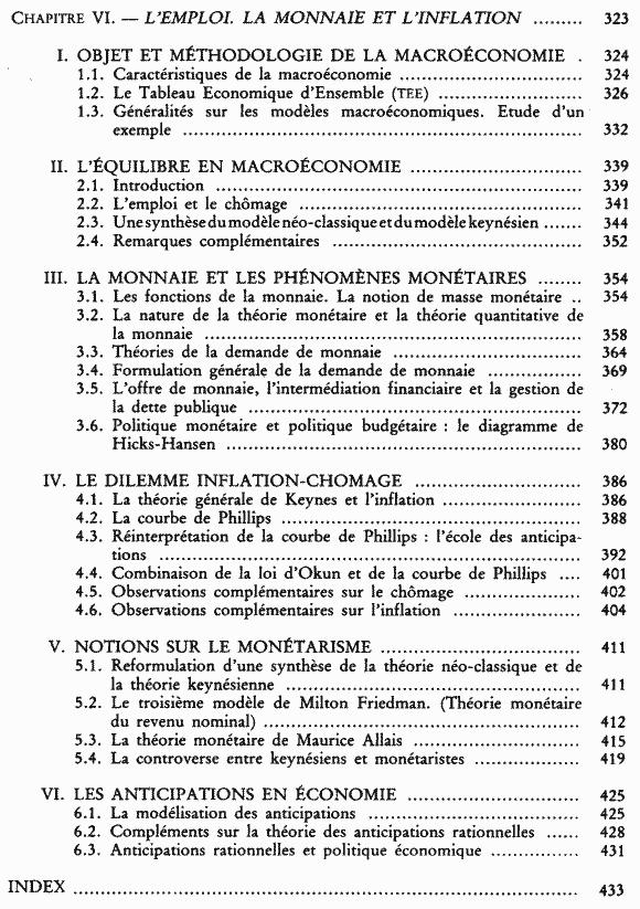 La science économique - Sommaire page 4