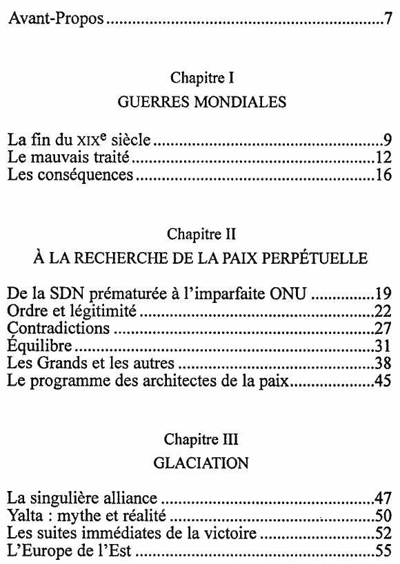 Mémoire du temps présent - Sommaire page 1