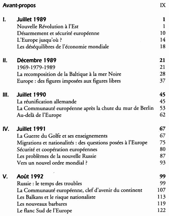 Quinze ans qui bouleversèrent le monde - Sommaire page 1