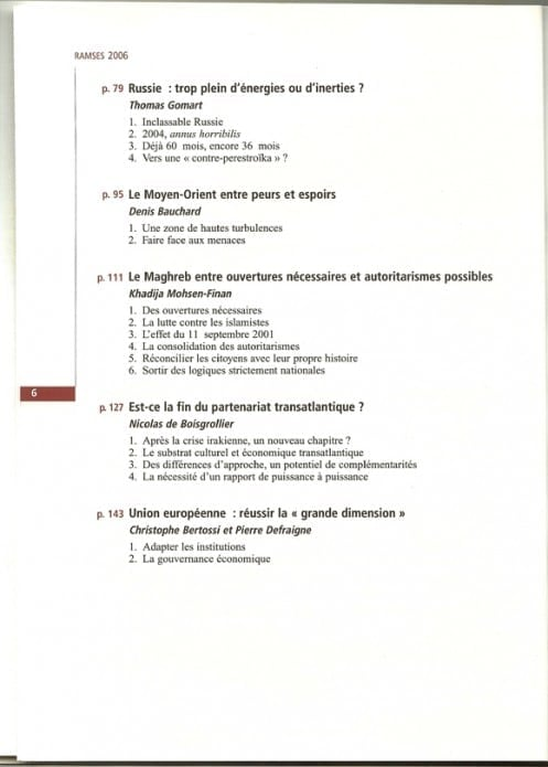 RAMSES 2006 - Sommaire page 2