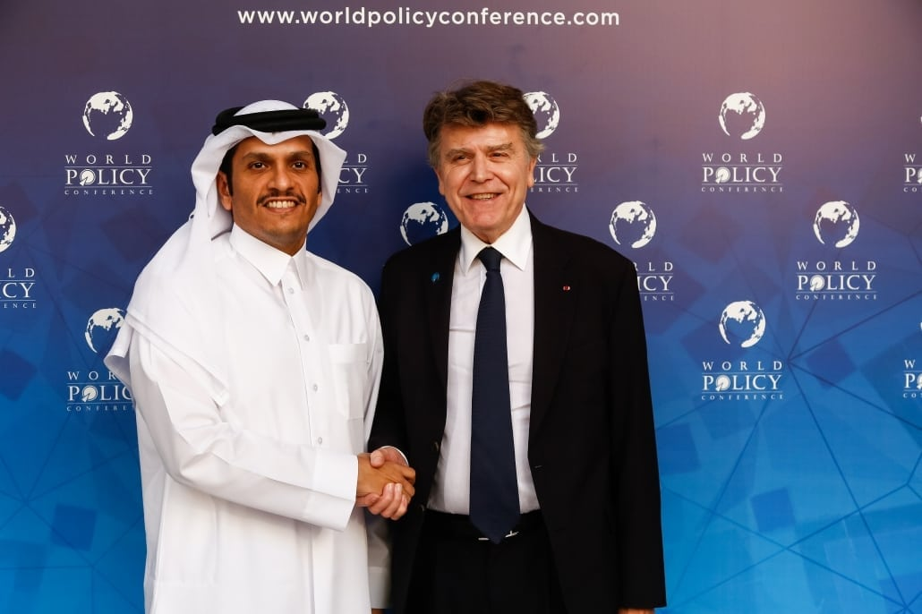 World Policy Conference WPC 2017 Thierry de Montbrial, Sheikh Mohammed bin Abdulrahman bin Jassim Al-Thani