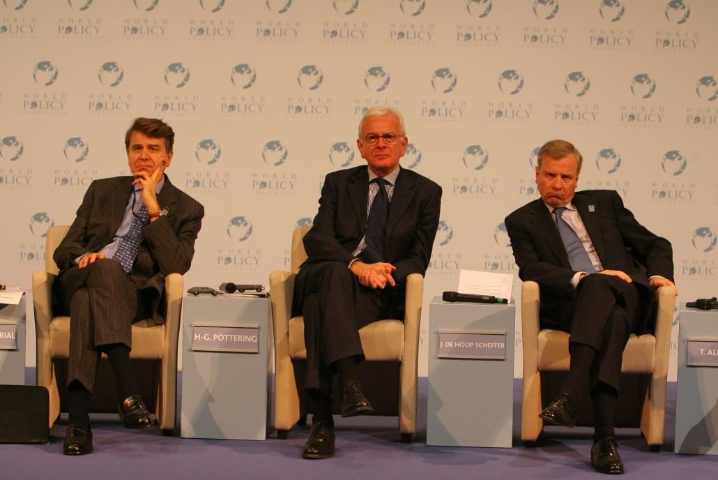 World Policy Conference, WPC 2008, Thierry de Montbrial, Hans Gert Pöttering, Jaap de Hoop Scheffer