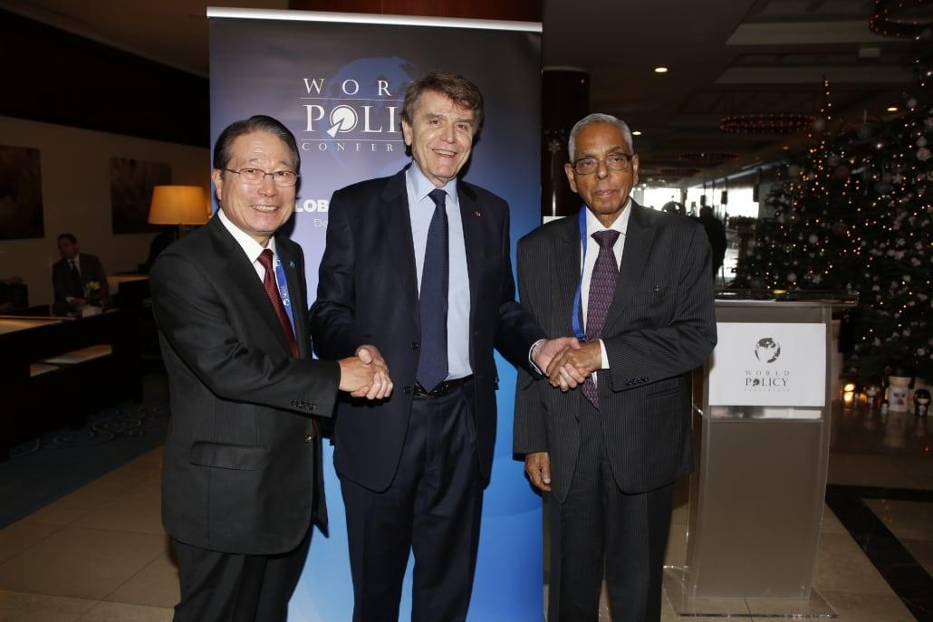 World Policy Conference WPC 2013, Monaco, December 13-15 - Yu Myung-Hwan, Thierry de Montbrial, Mayankote Kelath Narayanan