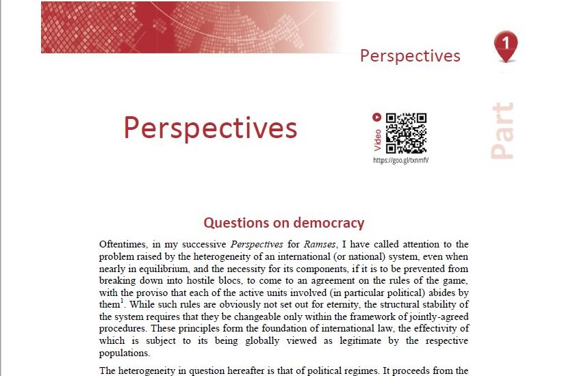 Perspectives for 2019 - RAMSES - Thierry de Montbrial
