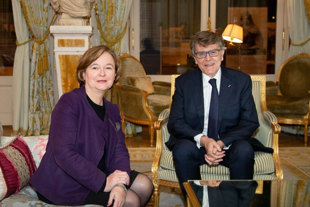 Thierry de Montbrial et Nathalie Loiseau, ministre chargée des Affaires européennes, Diner-débat de l'Ifri