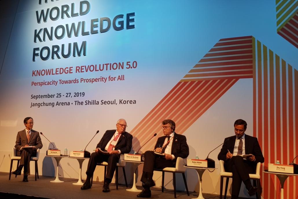 Thierry de Montbrial Intervention World Knowledge Forum, Séoul 25/09/2019